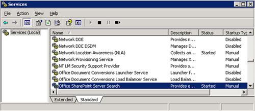A continuación deberemos detener el Servicio de Windows Office SharePoint Server Search. En nuestro caso de ejemplo, este servicio está corriendo en dos Frontales y en un Servidor de Aplicaciones.