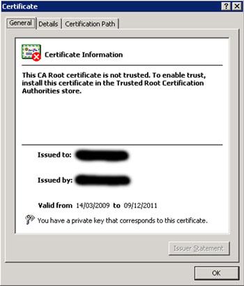 Y efectivamente, el certificado está caducado. De hecho, caducó en Diciembre de 2011, y ya estamos en 2012. Además, podemos comprobar que se trata de un certificado autofirmado, ya que los valores de Issued to e Issued by son el mismo.