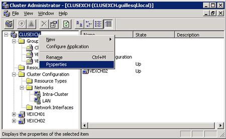 Para editar las propiedades del Cluster, desde la herramienta administrativa Cluster Administrator, click con el botón derecho sobre el Cluster, y después, click Properties.