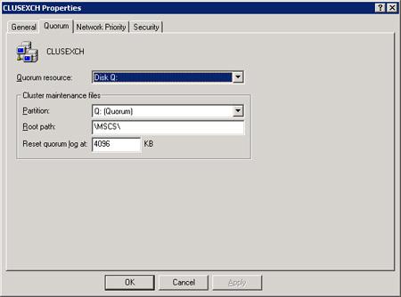 Para ver la configuración del Quorum del Cluster, desde la herramienta administrativa Cluster Administrator, mostrar el diálogo de Propiedades del Cluster, y seguidamente mostrar la pestaña Quorum.