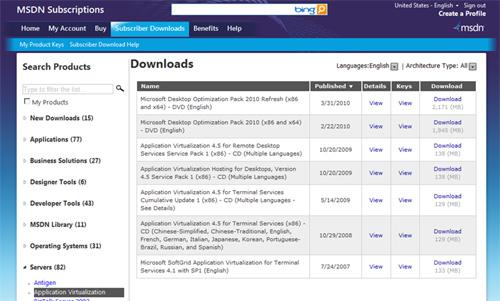 A continuación se muestra una pantalla capturada de la correspondiente página de descarga de una Subscripción MSDN, en la que se puede observar la diferenciación en estos productos