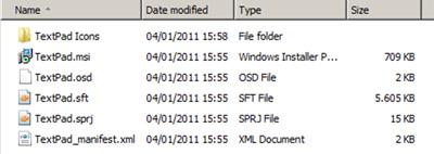 Ficheros resultantes de secuenciar una aplicación, en particular, el Textpad