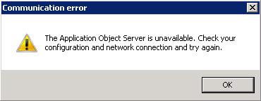 Después de reiniciar el servicio AOS, al interactuar con un Cliente AX que tenía una sesión abierta sobre el AOS que se acaba de reiniciar, se mostrará un error como el siguiente: The Application Object Server is unavailable. Check your configuration and network connection and try again