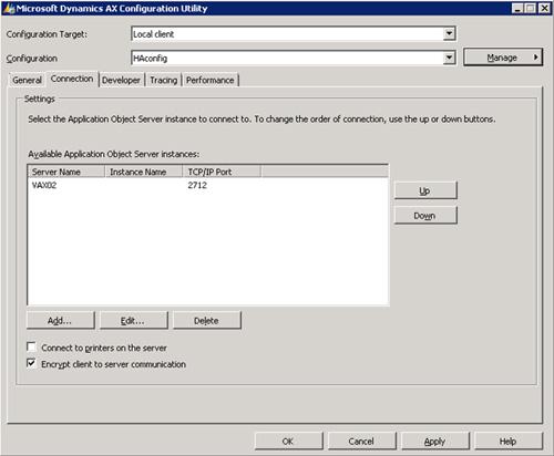 Creada la nueva configuración de Microsoft Dynamics AX 2009, click en el botón Add de la pestaña Connection, para añadir un nuevo servidor AOS al fichero de configuración de nuestro Cliente AX