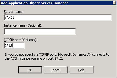En el diálogo Add Application Object Server Instance, especificaremos los datos de conexión al servidor AOS deseado, en nuestro caso, los correspondientes al servidor VAX01. Click OK