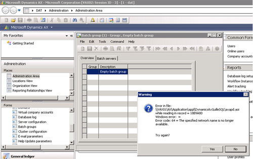 Con un Cliente AX conectado al AOS de VAX02, simulamos la pérdida de acceso a los Application Files existentes en una Shared Folder de VAX01, aislando dicha Máquina Virtual (a nivel de Red) en Hyper-V. Al seguir trabajando con nuestro Cliente AX, nos encontramos con el siguiente error: Error in file: \\VAX01\AX\Application\appl\DynamicsAxGuilleSQL\axapd.aoi while reading in record = 18B9A80. Windows error: =. Error code: 64 = The specified network name is no longer available