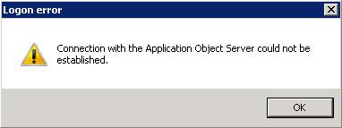 Como el servicio AOS está detenido, y el Cliente AX no conoce de más servidores AOS, es incapaz de conectarse, aúnque esté funcionando correctamente el servidor AOS de VAX01. El error de conexión obtenido es el siguiente: Logon error: Connection with the Application Object Server could not be established