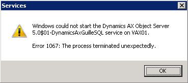 Entre unas y otras pruebas, en un entorno de Test de Microsoft Dynamics AX 2009, perdí la cuenta de servicio del AOS. Un problema, ya que aunque vuelvas a crear de nuevo la cuenta en Directorio Activo, y la vuelvas a configurar como cuenta de inicio del servicio Axapta Object Server (AOS), al intentar arrancar el AOS nos encontraremos con el Error 1067: The process terminated unexpectedly.