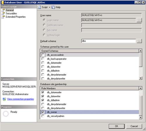 Tiene toda la pinta de tratarse de problemas de permisos de ejecución de procedimientos almacenados, relacionado con la cuenta de servicio de AOS sobre la base de datos de SQL Server. Para corregirlo, configuramos la cuenta de servicio de AOS como db_owner de la base de datos de Axapta, como se muestra en la siguiente pantalla captura. Téngase en cuenta que podría haberse resuelto de diferentes formas, como haciendo un GRANT de EXEC a nivel de esquema. Bueno, yo he tomado este camino.