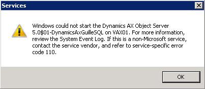 Concedemos permisos de Full Control a la cuenta de servicio de AOS (en nuestro caso, GUILLESQL\AXSvc) sobre dicho fichero, e intentamos de nuevo arrancar el servicio de AOS. De nuevo obtenemos como resultado un error, pero esta vez es distinto.