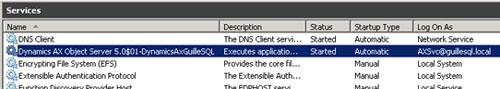 Volvemos a intentar iniciar el servicio de Axapta Object Server (AOS), y en esta ocasión, el servicio se inicia satisfactoriamente.