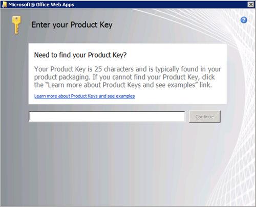 A continuación se presenta el proceso de instalación de las Office Web Apps sobre una Granja de SharePoint 2010. Dicho proceso debe repetirse sobre cada uno de los servidores de la Granja. Para ello, ejecutaremos el programa de instalación de las Office Web Apps, y en la pantalla Enter your Product Key introduciremos nuestra Clave de Producto. Click continue.