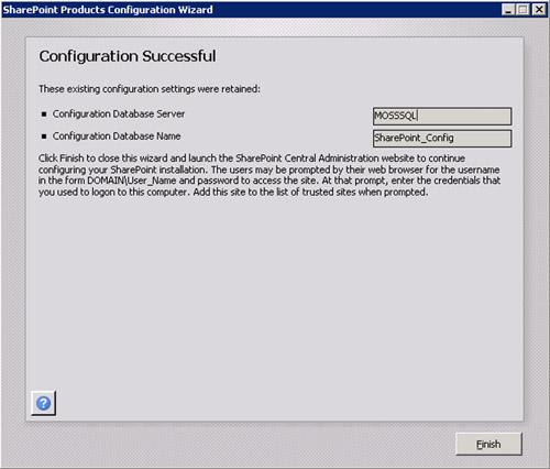 Finalmente, la configuración finalizará con éxito. En la pantalla Configuration Successful, click Finish.