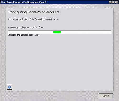 Durante la configuración de las Office Web Apps, se mostrará una barra de progreso, que durará unos minutos.