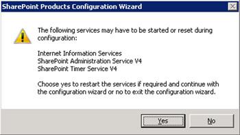 Se mostrará una ventana de diálogo, informado que algunos servicios podrían se reiniciados durante la configuración. Click Yes para continuar.