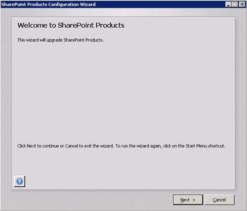 A continuación, deberemos ejecutar el Asistente de Configuración de SharePoint (SharePoint 2010 Products Configuration Wizard), en todos y cada uno de los servidores de la Granja de SharePoint 2010. Para ello, ejecutaremos la herramienta SharePoint 2010 Products Configuration Wizard, o en su defecto, el psconfig.exe (que es lo mismo). En la pantalla de bienvenida, click Next para continuar.