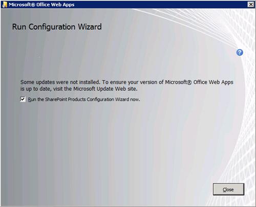 Barrita de progreso al canto. En breves instantes finalizará, con lo cual, habrá finalizado también la instalación de las Office Web Apps sobre dicho servidor. Desactivamos la opción Run the SharePoint Products Configuration Wizard now. Click Close.