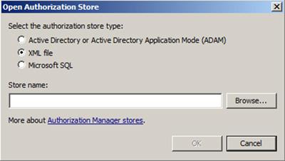 Tipos de Authorization Store en AzMan (Authorization Manager)