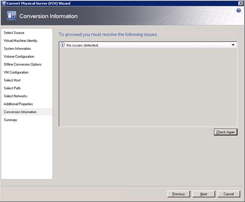 Pantalla Conversión Information del asistente de conversión de físco a virtual (P2V) de Virtual Machine Manager 2008 R2