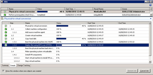 Pantalla de Jobs mostrando la ejecución de la conversión de físico a virtual (P2V) en el paso de Deploy File