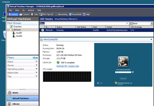 Arrancar la máquina virtual resultado de la conversión de físico a virtual (P2V) para comprobar su estado.