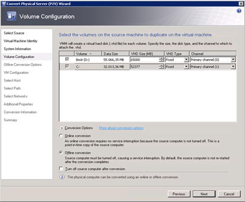 Pantalla Volume Configuration del asistente de conversión de físco a virtual (P2V) de Virtual Machine Manager 2008 R2, mostrando las opciones de conversión (OnLine u OffLine).