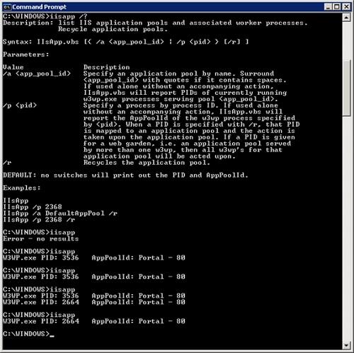 En la siguiente pantalla capturada, en primer lugar podemos observar la ayuda del Script iisapp.vbs. A continuación, podemos ver el resultado de ejecución del Script iisapp.vbs cuando no hay en ejecución ningún App Pool (la máquina acaba de arrancar y no hay usuarios trabajando). Seguidamente podemos ver varias consultas con el Script iisapp.vbs durante el reciclado de un App Pool.