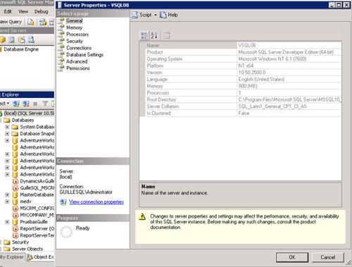 En nuestro caso de ejemplo, partimos de una instancia de SQL Server 2008 R2 Developer con el Service Pack 1 instalado (compilación 10.50.2500) con la intercalación por defecto de la instalación (en concreto, la intercalación SQL_Latin1_General_CP1_CI_AS) y el modo de autenticación Mixto. Dicha instancia contiene algunas bases de datos.