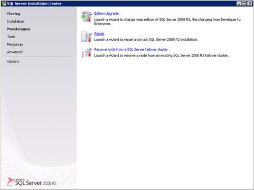 Ejecutar el programa de instalación de SQL Server 2008 R2 (SETUP.EXE) desde el DVD de instalación. En la pantalla de Splash de SQL Server, seleccionaremos la página Maintenance, y después click en Repair.