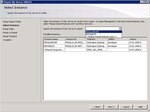 En la pantalla Select Instance page, seleccionar la instancia de SQL Server que se desea reparar. Click Next para continuar.