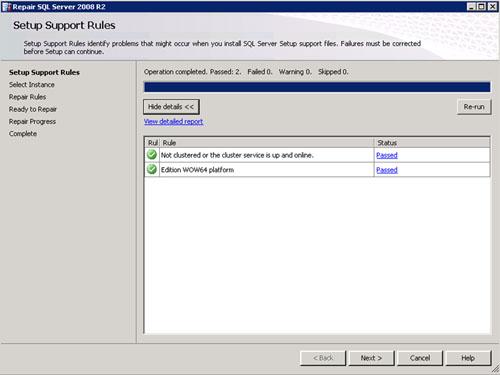 En la pantalla Setup Support Rules, click Next para continuar.
