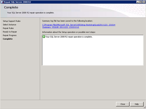 Se mostrará una barra de progreso, y tras escaso minutos, la reparación de SQL Server 2008 R2 habrá finalizado con éxito. Click Close.
