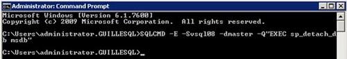 Realizado esto, desde otra ventana de línea de comandos, hacer un DETACH de la base de datos MSDB. Para ello, deberíamos ejecutar algo como: SQLCMD -E -Sservername -dmaster -Q