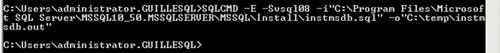 Ahora, desde una ventana de línea de comandos, ejecutar el Script para volver a crear MSDB utilizando el Script instmsdb.sql
