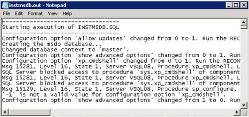 Revisar en el fichero de salida (instmsdb.out) si se ha producido algún error, por ejemplo, utilizando el NotePad. En mi caso de ejemplo, me encontré algunos errores nada más abrir el fichero instmsdb.out, y bastantes más a lo largo de dicho fichero