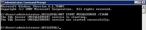 Después deberemos arrancar la instancia de SQL Server desde línea de comandos utilizando el Trace Flag 3608. Para una instancia por defecto, deberíamos ejecutar algo como: NET START MSSQLSERVER /T3608