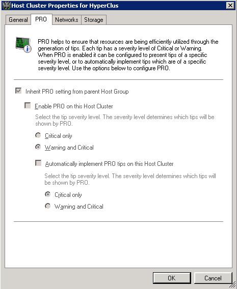 Pestaña PRO del diálogo de propiedades de un Cluster en Virtual Machine Manager 2008 R2.