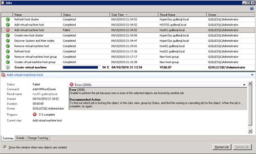 Jobs correspondientes a la creación de un Cluster Host