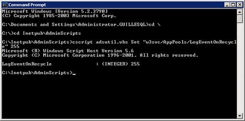 En mi caso lo he probado sobre Windows Server 2003 R2 SP2, y me ha funcionado muy bien. Tan sólo tenemos que abrir una ventana de comandos, posicionarnos en c:\inetpub\AdminScripts y seguidamente ejecutar el comando: cscript adsutil.vbs Set w3svc/AppPools/LogEventOnRecycle 255