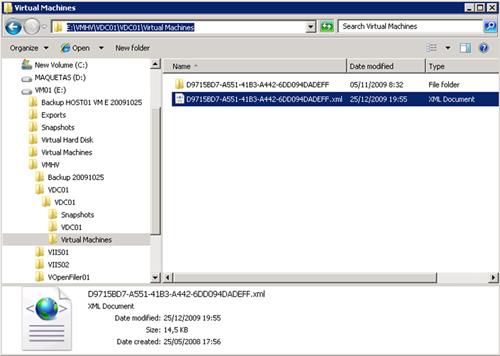 Antiguo GUID de la Máquina Virtual Hyper-V que deseamos recuperar o registrar manualmente