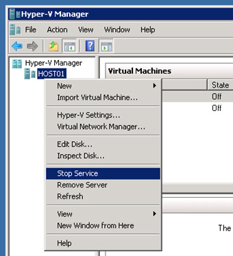 Es necesario detener el servicio de Hyper-V, por ejemplo desde la herramienta administrativa Hyper-V Manager, para poder modificar los ficheros de configuración XML de las Máquinas Virtuales, y guardar los cambios