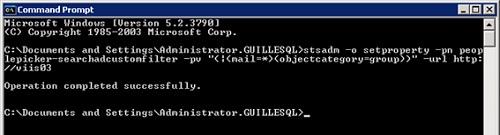 Para solucionarlo, vamos a ejecutar el siguiente comando STSADM peoplepicker-searchadcustomfilter, el cual añade un filtro LDAP, de tal modo que sólo se devuelvan como resultados de búsqueda objetos con dirección de correo electrónico establecida o grupos de usuarios