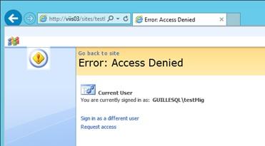 De momento, el usuario original, que antes tenía permisos en el Site, ya no puede entrar. Uff. Los pelos como escarpias.