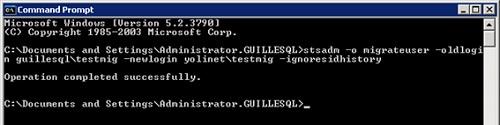 En un servidor SharePoint, ejecutaremos el comando STSADM migrateuser para migrar los usuarios. Es importante utilizar la opción ignoresidhistory del STSADM migrateuser, al menos en nuestro caso.
