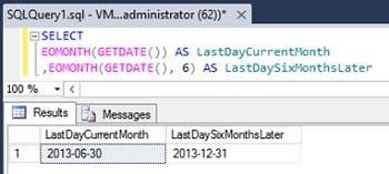 Ejemplo de la función EOMONTH en SQL Server 2012
