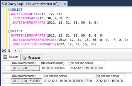 Ejemplo de las funciones DATEFROMPARTS, TIMEFROMPARTS, DATETIMEFROMPARTS, DATETIME2FROMPARTS, DATETIMEOFFSETFROMPARTS, y SMALLDATETIMEFROMPARTS, incluidas en SQL Server 2012