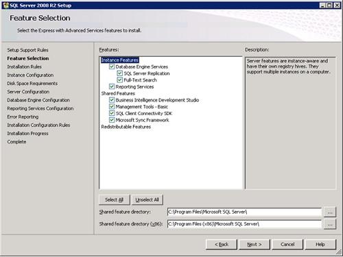 Quiero aprovechar para incluir un pantallazo del proceso de instalación de SQL Server 2008 R2 Express with Advanced Services, muy similar al de SQL Server 2012 with Advanced Services (excepto por el tema de LocalDB).