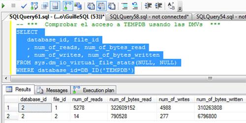 Además, vamos a consultar la DMV sys.dm_io_virtual_file_stats, para identificar las lecturas y escrituras realizadas sobre TEMPDB, y de este modo, poder tener otra medida que nos indique si se ha incurrido en un acceso a TEMPDB o no. En la siguiente pantalla capturada se muestra la consulta realizada y la salida obtenida.