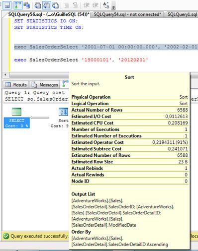 Si nos fijamos en la operación SORT, el número de filas estimadas y el número de filas actuales (afectadas) es coincidente, por lo que podemos entender que la concesión de memoria para esta consulta (Memory Grant) es apropiada. De hecho, en nuestra  traza de SQL Profiler, no se muestra ningún Sort Warning.