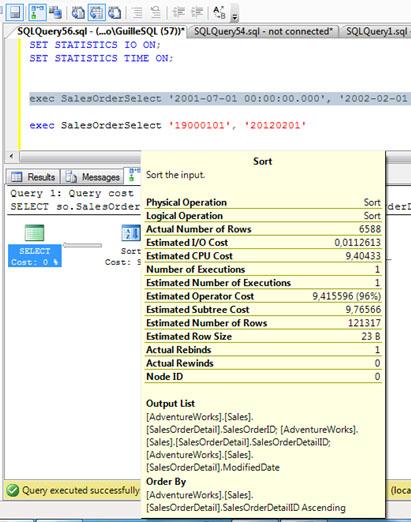 Para más detalles, a continuación se puede ver la información contextual del operador SORT en el Plan de Ejecución. Ojo en la diferencia existente entre el número de filas estimadas y actuales (está claro: hay sobrestimación).